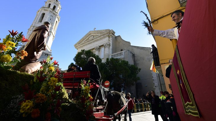 An effigy of Sant Antonio Abad (L) displayed on carriage pulled by a horse, is blessed by a priest (R) in Vilanova i la Geltru, near Barcelona on January 17, 2017, marking San Anton Abad's Day (Saint Anthony), the patron saint of animals. Dogs, cats, rabbits and even turtles, many dressed in their finest, trooped into churches across Spain in search of blessing on Saint Anthony's Day, for the patron saint of animals. / AFP PHOTO / LLUIS GENE
