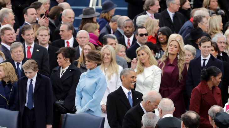 WASHINGTON, DC - JANUARY 20: U.S. President Barack Obama smiles in front of members of the Trump family on the West Front of the U.S. Capitol on January 20, 2017 in Washington, DC. In today's inauguration ceremony Donald J. Trump becomes the 45th president of the United States.   Chip Somodevilla/Getty Images/AFP