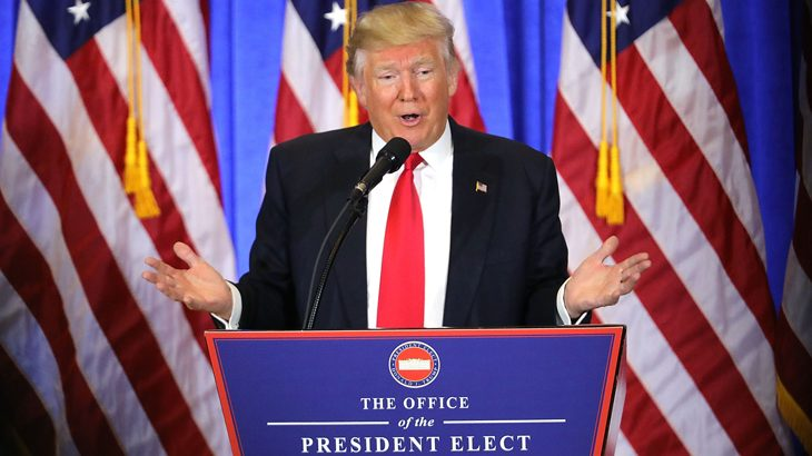 NEW YORK, NY - JANUARY 11: President-elect Donald Trump speaks at a news cenference at Trump Tower on January 11, 2017 in New York City. This is Trump's first official news conference since the November elections.   Spencer Platt/Getty Images/AFP