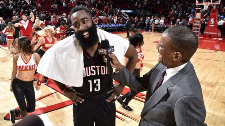 HOUSTON, TX - JANUARY 5: James Harden #13 of the Houston Rockets talks with TNT reporter David Aldridge after the game against the Oklahoma City Thunder on January 5, 2017 at the Toyota Center in Houston, Texas. NOTE TO USER: User expressly acknowledges and agrees that, by downloading and or using this photograph, User is consenting to the terms and conditions of the Getty Images License Agreement. Mandatory Copyright Notice: Copyright 2017 NBAE   Bill Baptist/NBAE via Getty Images/AFP
