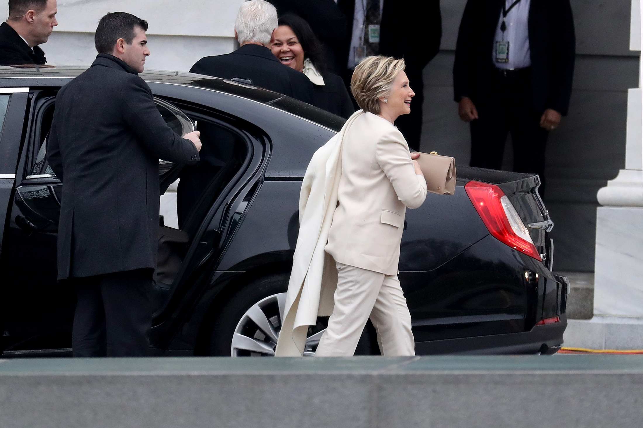 WASHINGTON, DC - JANUARY 20: Hillary Clinton arrives at the U.S. Capitol on January 20, 2017 in Washington, DC. In today's inauguration ceremony Donald J. Trump becomes the 45th president of the United States.   Rob Carr/Getty Images/AFP