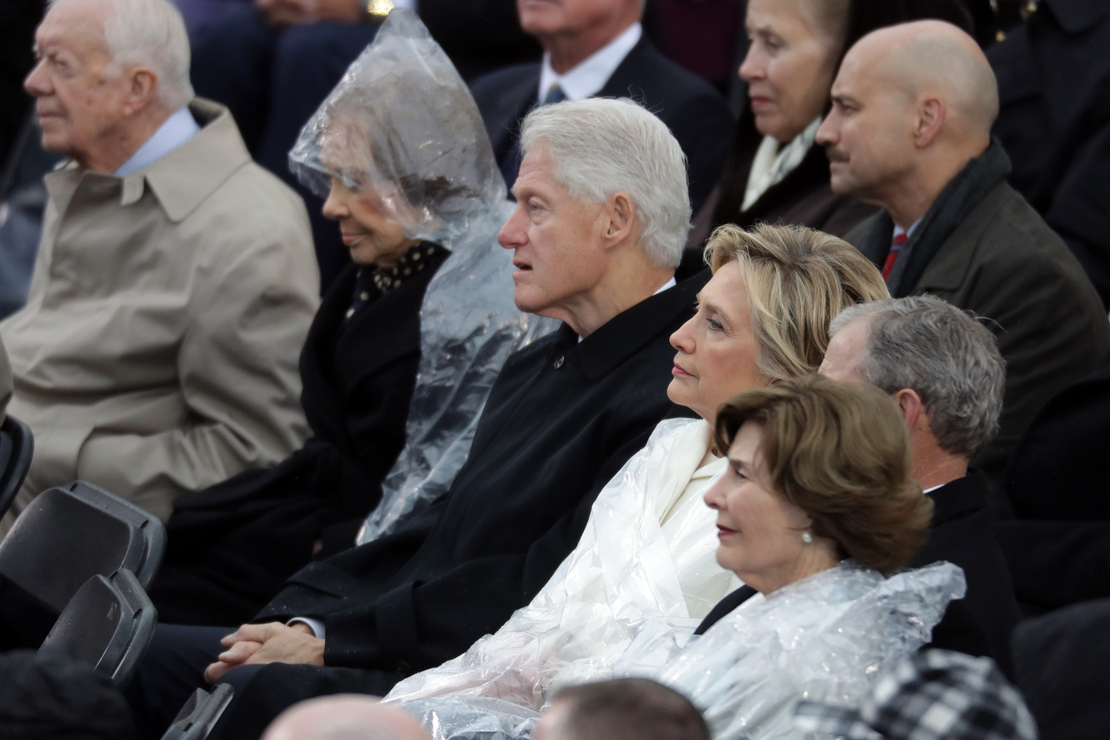 WASHINGTON, DC - JANUARY 20: (L-R) Former President Jimmy Carter, former first lady Rosalynn Carter, former President Bill Clinton, former Democratic presidential nominee Hillary Clinton, former President George W. Bush and former first lady Laura Bush watch President Donald Trump's inaugural address on the West Front of the U.S. Capitol on January 20, 2017 in Washington, DC. In today's inauguration ceremony Donald J. Trump becomes the 45th president of the United States.   Chip Somodevilla/Getty Images/AFP