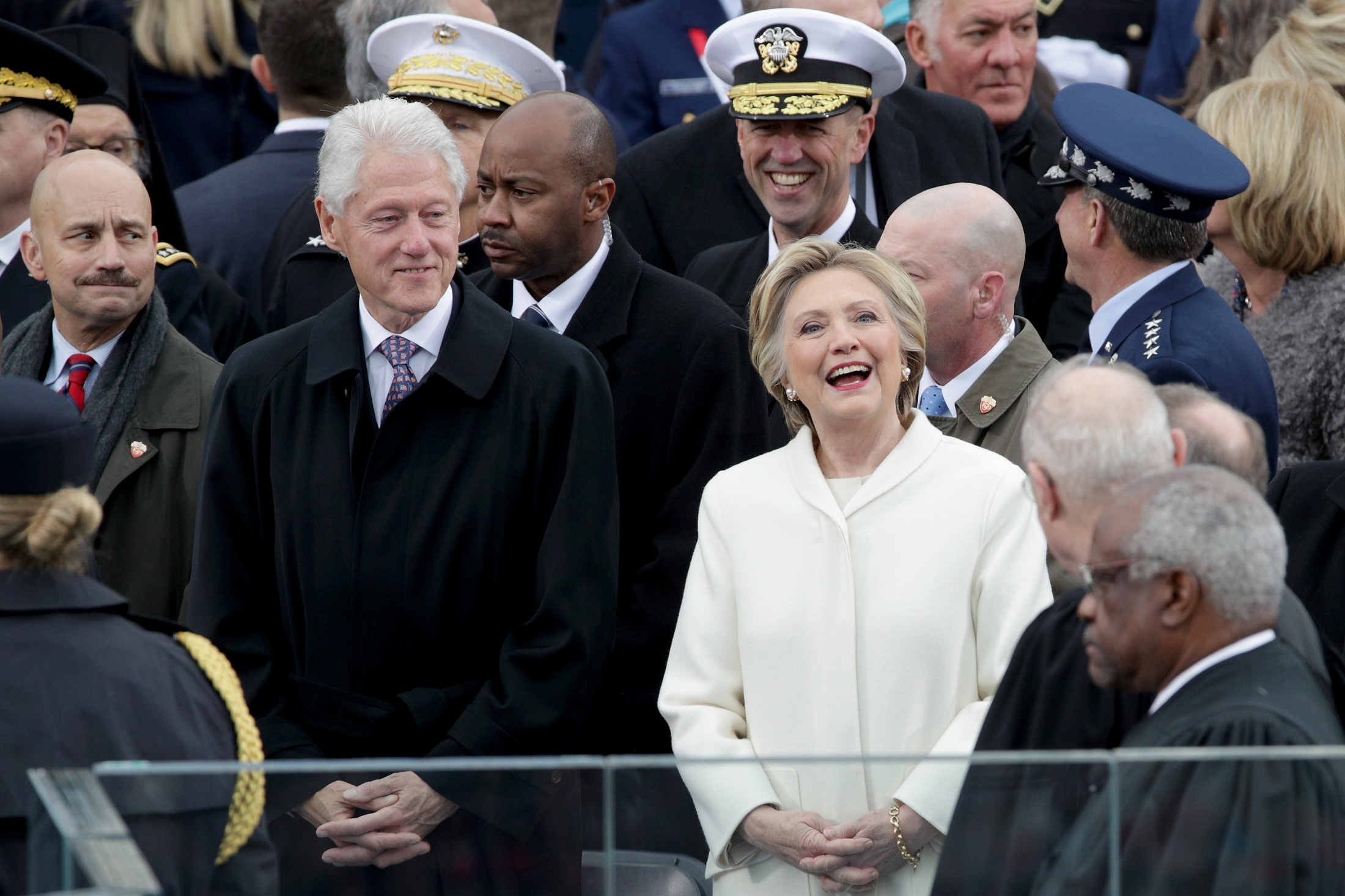WASHINGTON, DC - JANUARY 20: Former President Bill Clinton and former Democratic presidential nominee Hillary Clinton arrive on the West Front of the U.S. Capitol on January 20, 2017 in Washington, DC. In today's inauguration ceremony Donald J. Trump becomes the 45th president of the United States.   Alex Wong/Getty Images/AFP