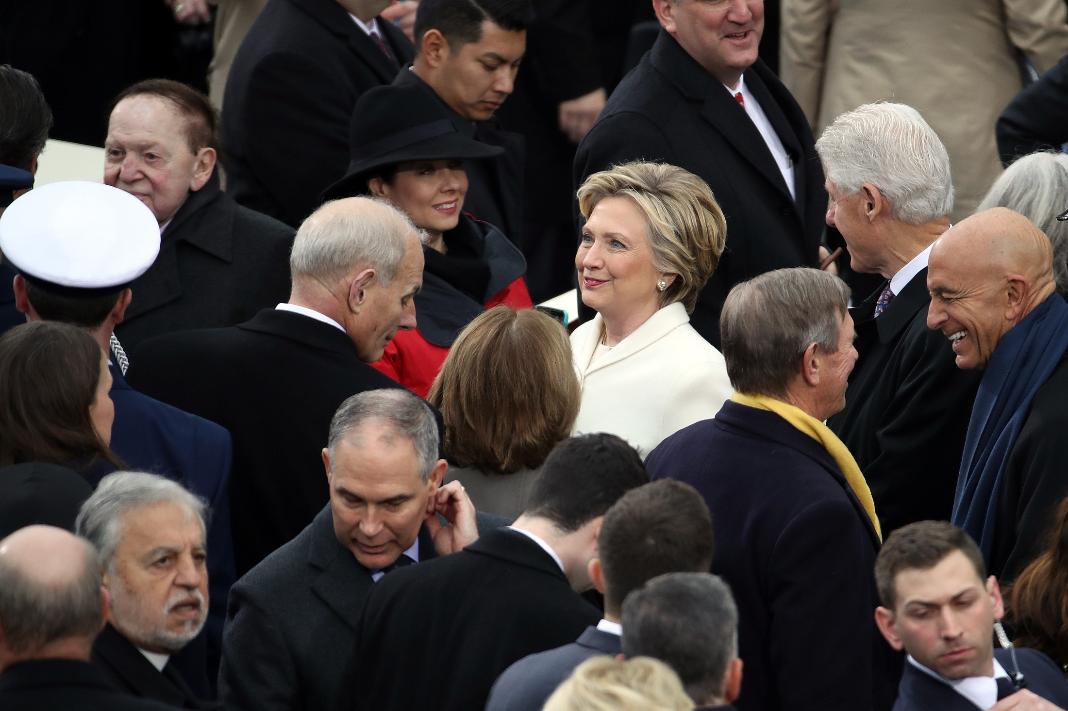 WASHINGTON, DC - JANUARY 20: Former Democratic presidential nominee Hillary Clinton (C) and former President Bill Clinton (R) arrive on the West Front of the U.S. Capitol on January 20, 2017 in Washington, DC. In today's inauguration ceremony Donald J. Trump becomes the 45th president of the United States.   Drew Angerer/Getty Images/AFP