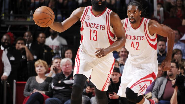 HOUSTON, TX - JANUARY 10: James Harden #13 of the Houston Rockets brings the ball up court against the Charlotte Hornets during the game on January 10, 2017 at the Toyota Center in Houston, Texas. NOTE TO USER: User expressly acknowledges and agrees that, by downloading and or using this photograph, User is consenting to the terms and conditions of the Getty Images License Agreement. Mandatory Copyright Notice: Copyright 2017 NBAE   Bill Baptist/NBAE via Getty Images/AFP