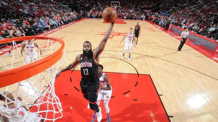 HOUSTON, TX - DECEMBER 31: James Harden #13 of the Houston Rockets goes up for a dunk during a game against the New York Knicks on December 31, 2016 at the Toyota Center in Houston, Texas. NOTE TO USER: User expressly acknowledges and agrees that, by downloading and/or using this photograph, user is consenting to the terms and conditions of the Getty Images License Agreement. Mandatory Copyright Notice: Copyright 2016 NBAE   Bill Baptist/NBAE via Getty Images/AFP
