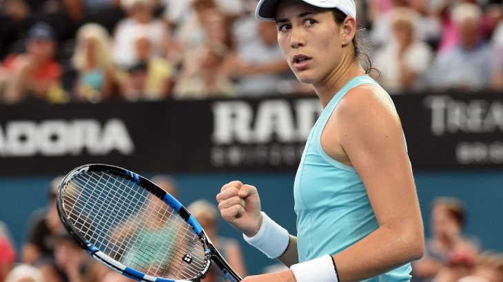 Garbine Muguruza of Spain reacts on a point against Svetlana Kuznetsova of Russia in their women's singles quarter-final match at the Brisbane International tennis tournament in Brisbane on January 5, 2017. / AFP PHOTO / Saeed KHAN / -- IMAGE RESTRICTED TO EDITORIAL USE - STRICTLY NO COMMERCIAL USE --