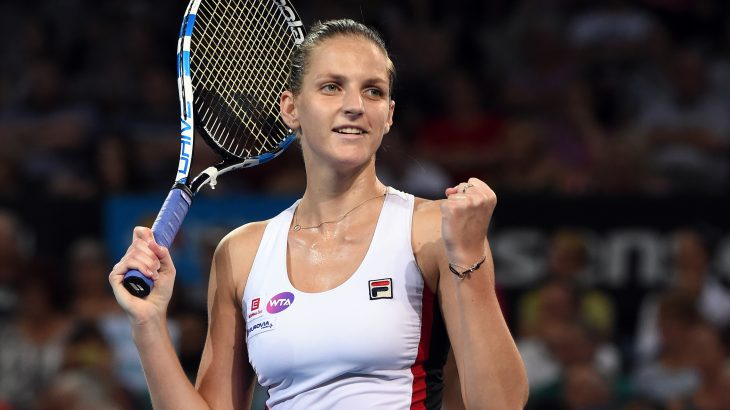 Karolina Pliskova of the Czech Republic celebrates her victory over Alize Cornet of France in their women's singles final match at the Brisbane International tennis tournament in Brisbane on January 7, 2017. / AFP PHOTO / Saeed KHAN / IMAGE RESTRICTED TO EDITORIAL USE - STRICTLY NO COMMERCIAL USE