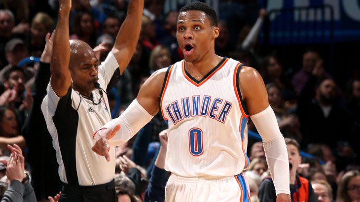 OKLAHOMA CITY, OK - JANUARY 7: Russell Westbrook #0 of the Oklahoma City Thunder reacts during the game against the Denver Nuggets on January 7, 2017 at Chesapeake Energy Arena in Oklahoma City, Oklahoma. NOTE TO USER: User expressly acknowledges and agrees that, by downloading and or using this photograph, user is consenting to the terms and condition of the Getty Images License Agreement. Mandatory Copyright Notice: 2017 NBAE   Layne Murdoch/NBAE via Getty Images/AFP
