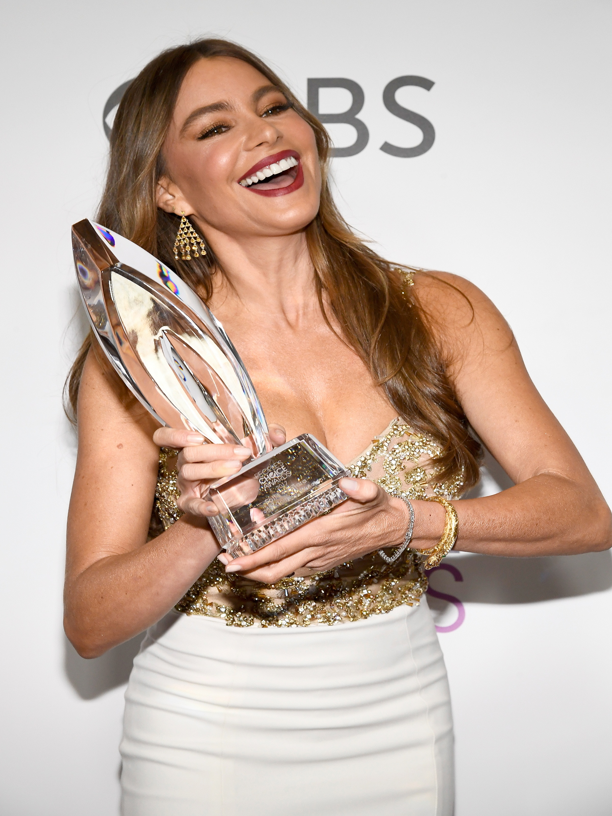 LOS ANGELES, CA - JANUARY 18: Actress Sofia Vergara, winner of the Favorite Comedic TV Actress Award, poses in the press room during the People's Choice Awards 2017 at Microsoft Theater on January 18, 2017 in Los Angeles, California.   Kevork Djansezian/Getty Images/AFP