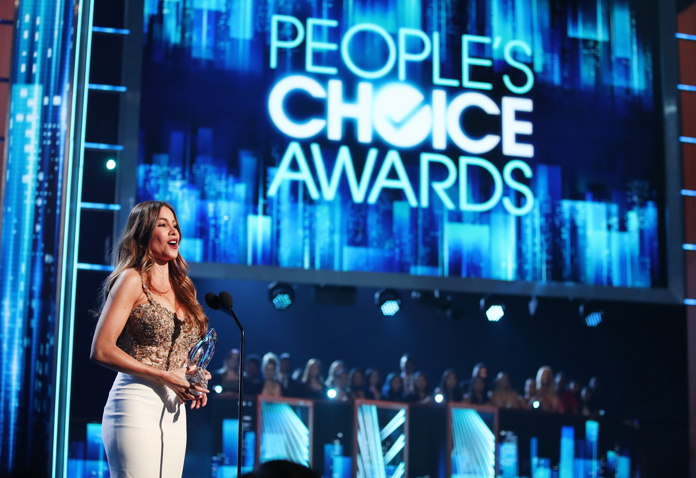 LOS ANGELES, CA - JANUARY 18: Actress Sofia Vergara accepts the Favorite Comedic TV Actress award onstage during the People's Choice Awards 2017 at Microsoft Theater on January 18, 2017 in Los Angeles, California.   Christopher Polk/Getty Images for People's Choice Awards/AFP