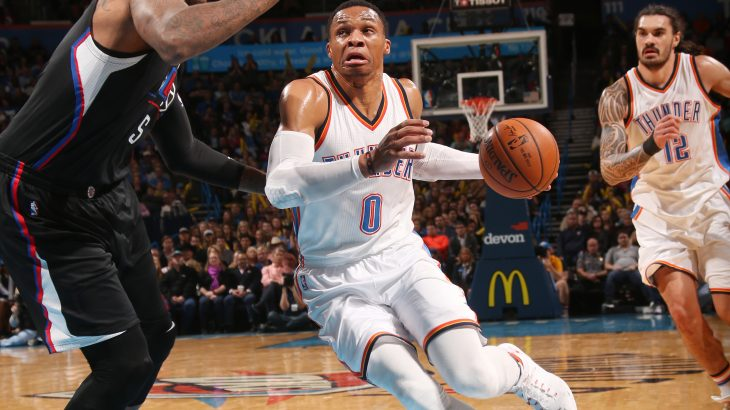 OKLAHOMA CITY, OK - DECEMBER 31: Russell Westbrook #0 of the Oklahoma City Thunder drives to the basket during a game against the LA Clippers on December 31, 2016 at Chesapeake Energy Arena in Oklahoma City, Oklahoma. NOTE TO USER: User expressly acknowledges and agrees that, by downloading and/or using this photograph, user is consenting to the terms and conditions of the Getty Images License Agreement. Mandatory Copyright Notice: Copyright 2016 NBAE   Layne Murdoch/NBAE via Getty Images/AFP