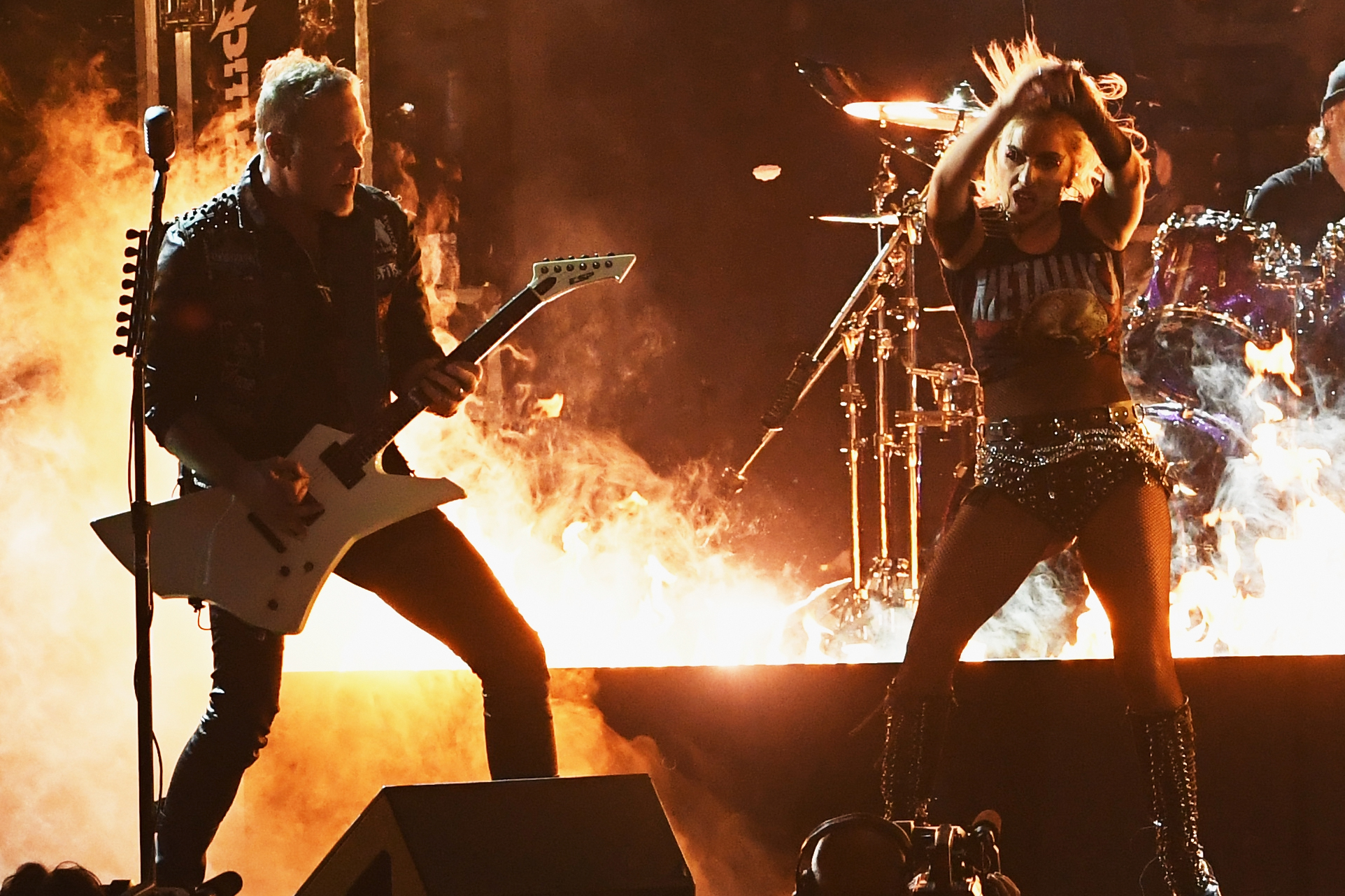 LOS ANGELES, CA - FEBRUARY 12: Recording artists James Hetfield (L) of music group Metallica and Lady Gaga perform onstage during The 59th GRAMMY Awards at STAPLES Center on February 12, 2017 in Los Angeles, California.   Kevin Winter/Getty Images for NARAS/AFP